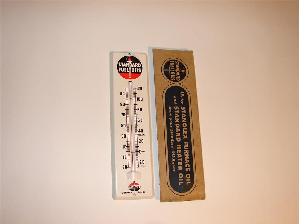 N.O.S. 1940s Standard Fuel Oils tin painted garage thermometer still in the original box. - Front 3/4 - 64538