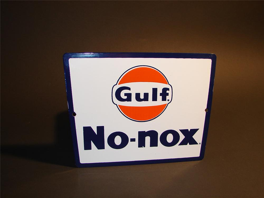 N.O.S. early 1960s Gulf No-Nox porcelain pump plate sign. - Front 3/4 - 64541