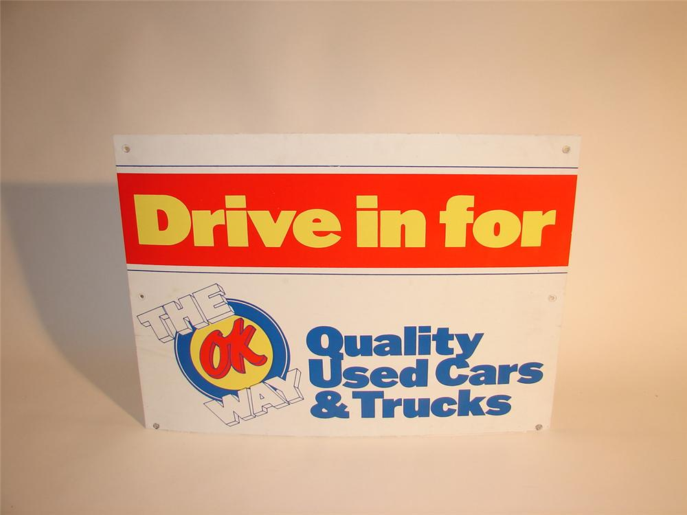 """Late 60s-early 70s Chevrolet """"Drive In For"""" OK Used Cars dealership sign. - Front 3/4 - 64569"""