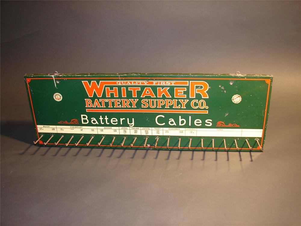 Fabulous late 20s Whitaker Battery Cables garage display rack. - Front 3/4 - 64571