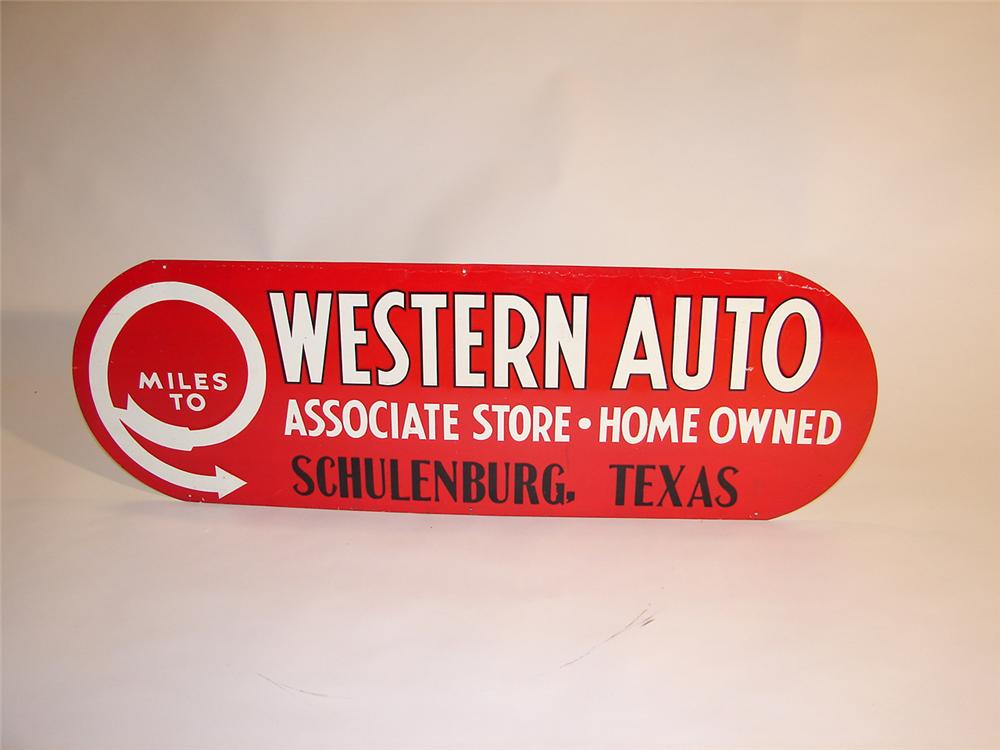 1940s Western Auto single-sided tin garage sign. - Front 3/4 - 64575