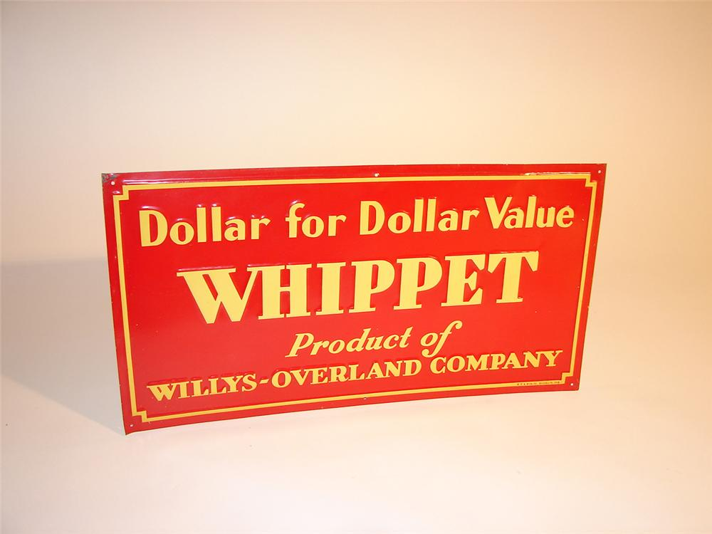 N.O.S. 1930s Willys Whippet single-sided tin garage sign.  Pulled out of the original shipping paper. - Front 3/4 - 64576