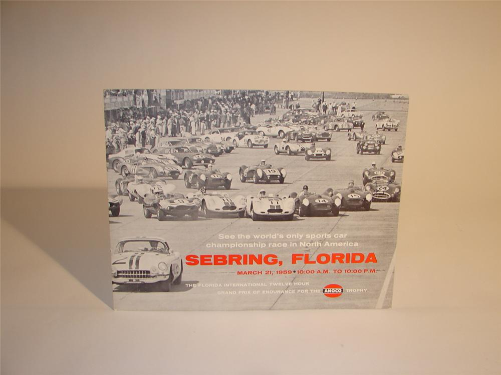 Impressive Sir Sterling Moss autographed 1959 Sebring Amoco Race display sign. - Front 3/4 - 64578
