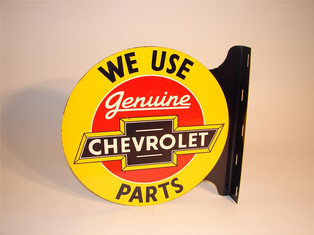 Choice 1930s Chevrolet Genuine Parts double-sided tin dealership flange sign. - Front 3/4 - 64580