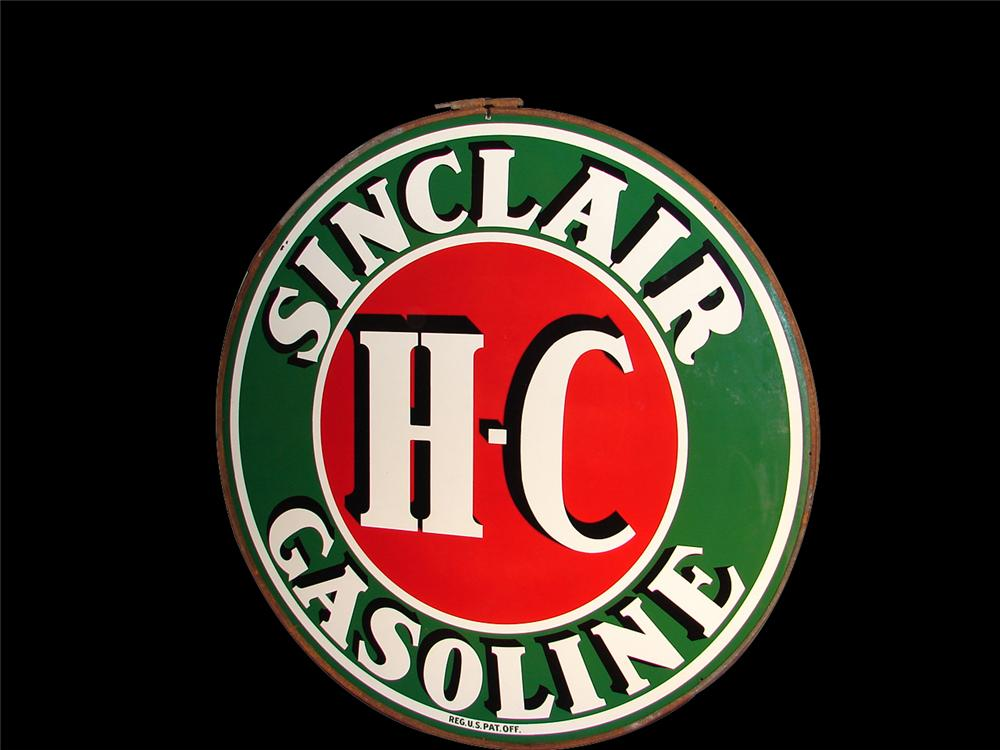 Superlative 1930s H-C Sinclair Gasoline double-sided porcelain station sign in original hanger. - Front 3/4 - 64582