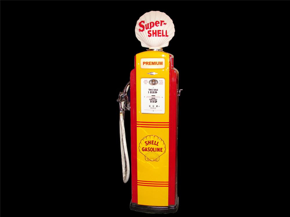 Gorgeous 1948 Shell Oil Bennett model #543 service station pump.   Underwent a no-expense spared restoration. - Front 3/4 - 64587