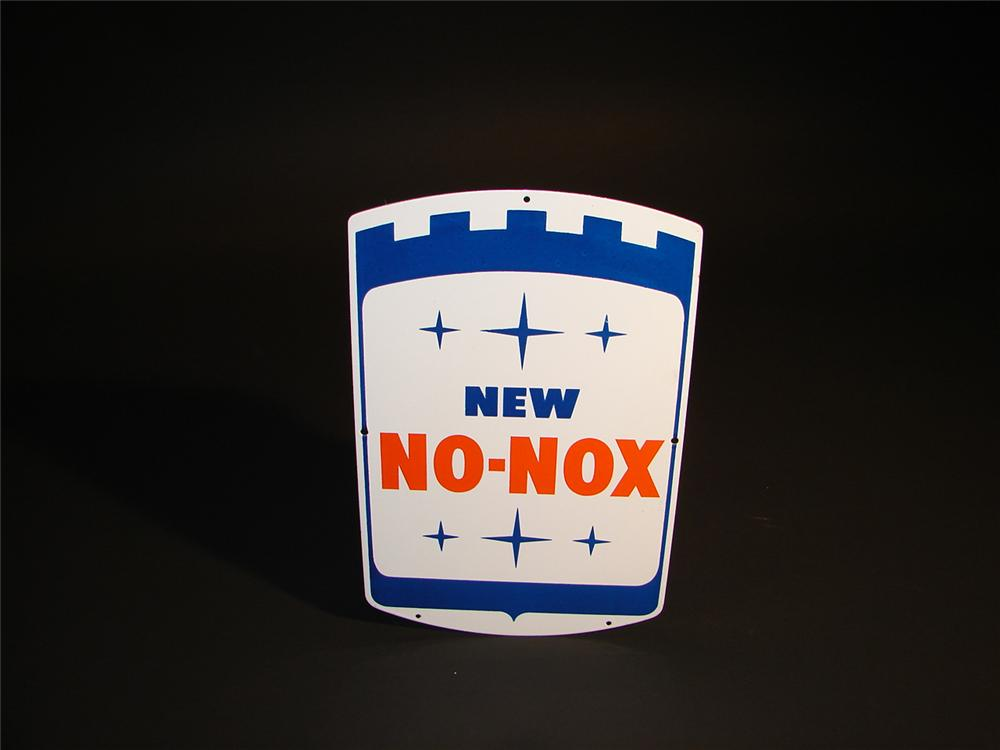 N.O.S. 1960s Gulf No Nox porcelain pump plate sign. - Front 3/4 - 64589