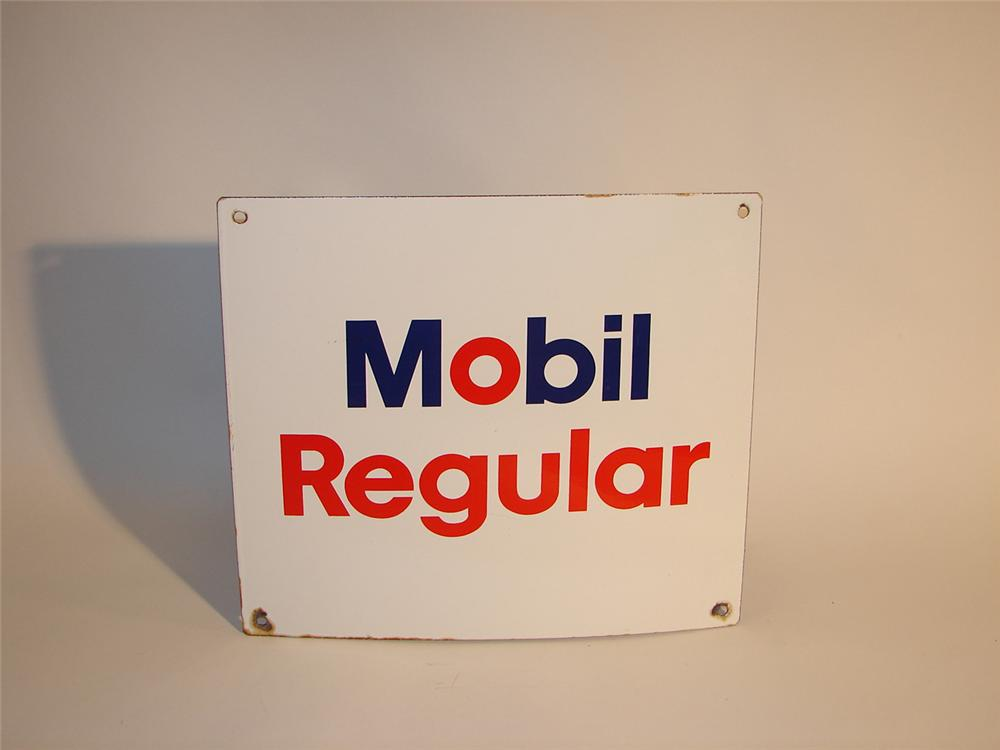 1960s Mobil Regular Gasoline porcelain pump plate sign. - Front 3/4 - 64592