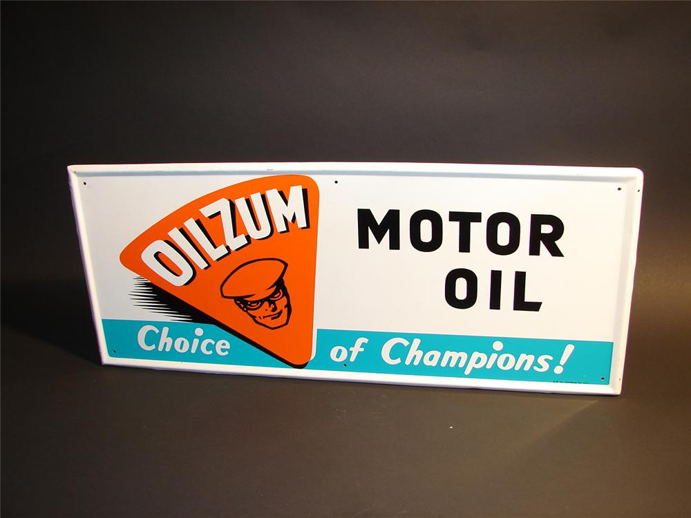 Highly sought after Oilzum Motor Oil single-sided tin garage sign. - Front 3/4 - 64595