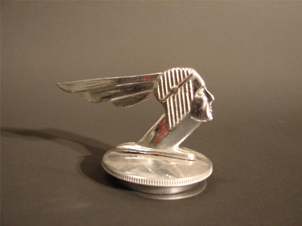 """Late 20s-early 30s Pontiac Chieftain hood mascot.    Size 5""""x3""""x3.5"""" - Front 3/4 - 64599"""