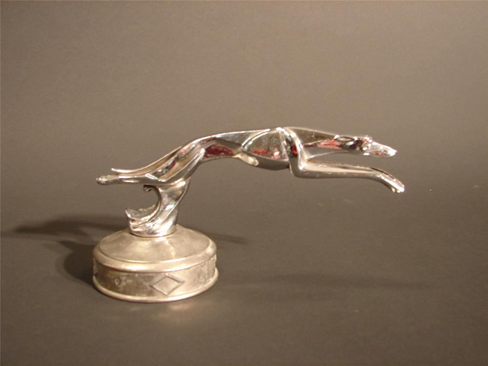 "Late 1920s Greyhound (Whippet) hood mascot by Krone and Sebek. Size 8""x3""x4"" - Front 3/4 - 64601"