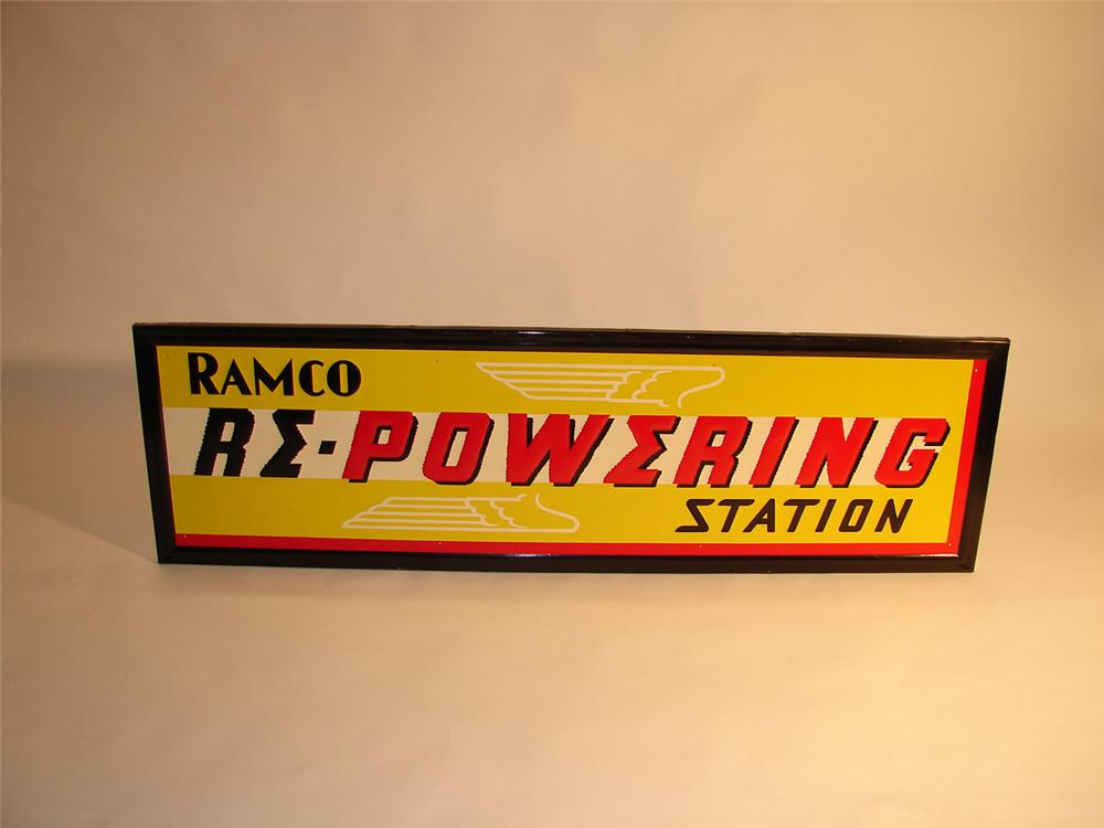"N.O.S. 1930s Ramco ""Repowerizing"" Station for Piston Rings self-framed garage sign. - Front 3/4 - 64604"
