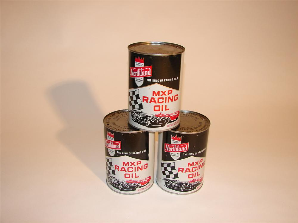 Lot of three early 60s Northland MXP Racing Oil metal quarts. - Front 3/4 - 64610