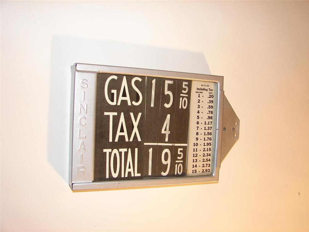 N.O.S. late 1920s Sinclair Gasoline visible gas pump price display. - Front 3/4 - 64613