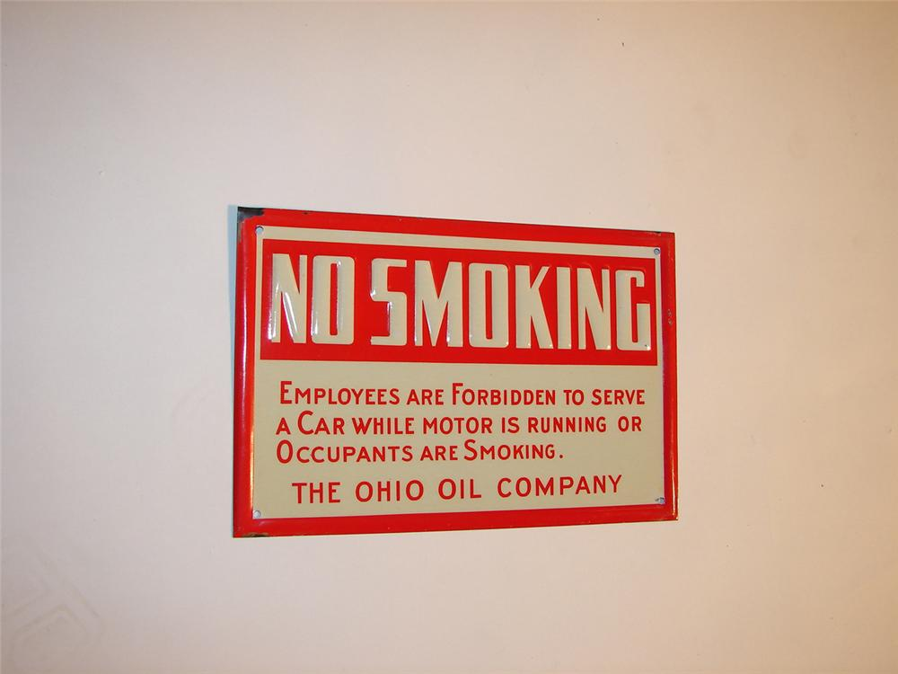 """N.O.S. 1940s Ohio Oil Company service station """"No Smoking"""" island sign. - Front 3/4 - 64614"""