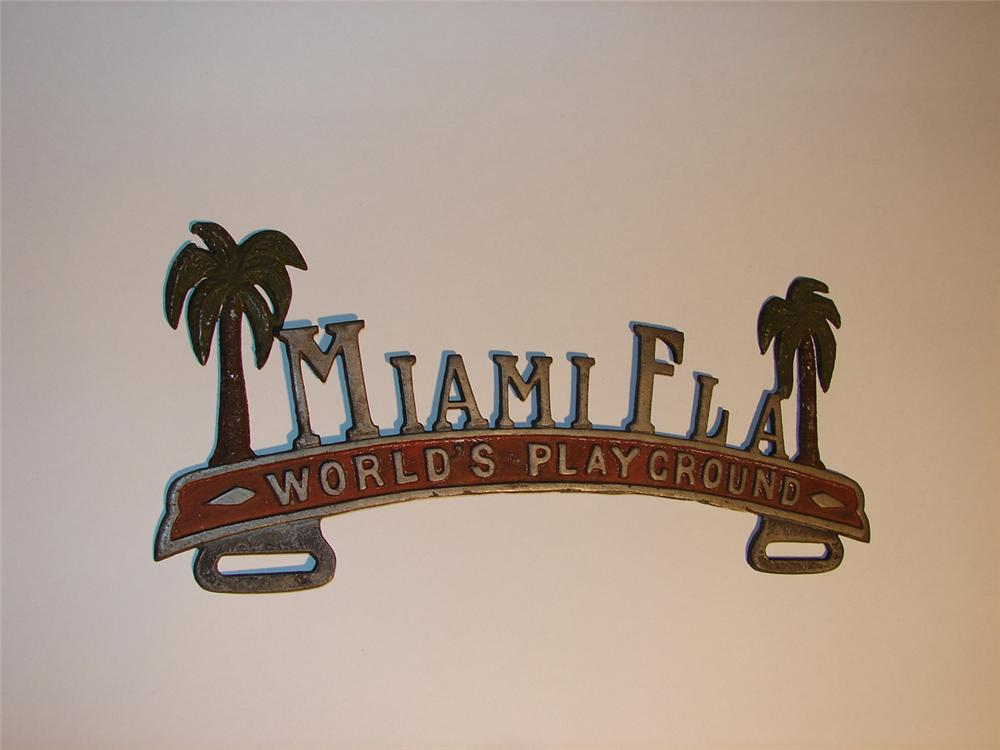 1930s Miami Florida souvenir license plate attachment sign. - Front 3/4 - 64615