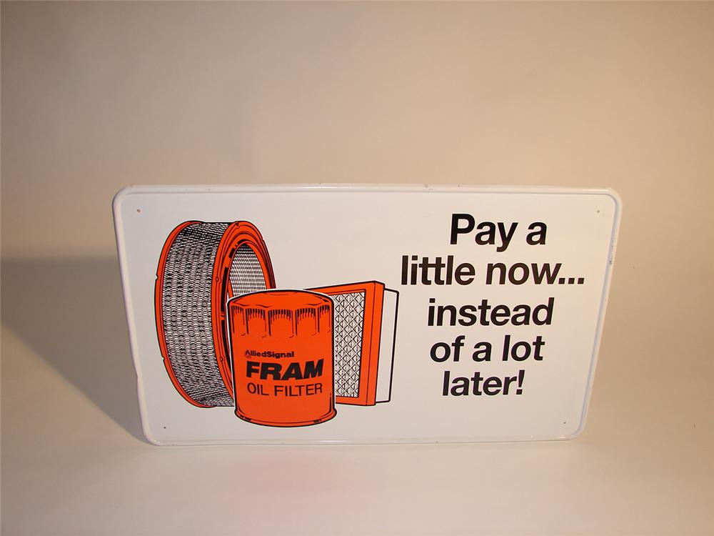 "N.O.S. Fram Oil Filters tin garage sign.  Very clean.   Size 26""x16"" - Front 3/4 - 64617"