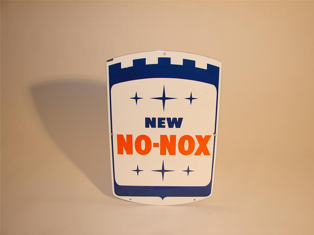 N.O.S. 1960s New Gulf No-Nox porcelain pump plate sign. - Front 3/4 - 64618