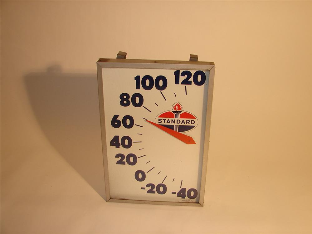 1950s Standard Oil glass faced station thermometer. - Front 3/4 - 64621