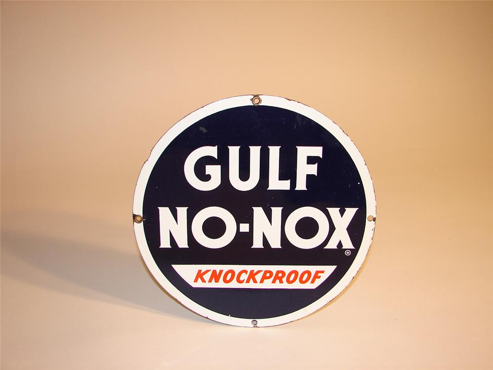 1940s-50s Gulf No-Nox single-sided porcelain pump plate sign. - Front 3/4 - 64624