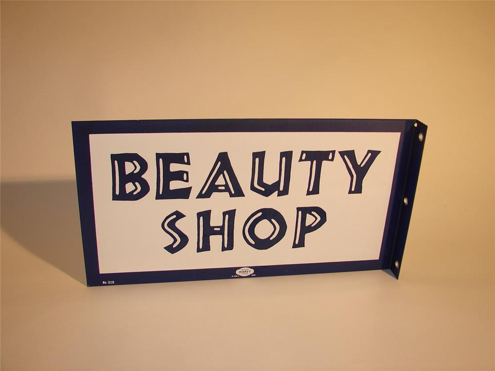 Late 50s-early 60s Beauty Shop porcelain flange sign. - Front 3/4 - 64740