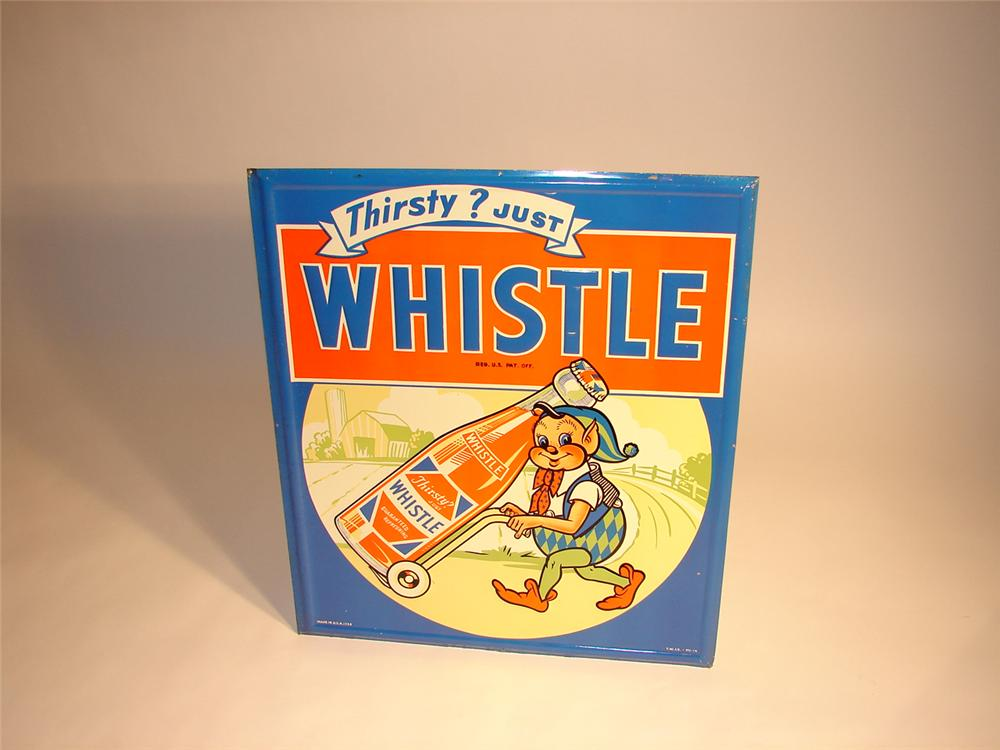 Unbelievable N.O.S. 1948 Whistle Orange Soda tin sign with adorable elf graphic. - Front 3/4 - 64743