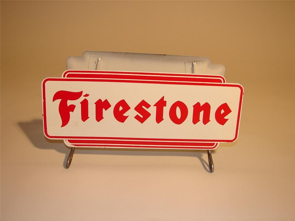 N.O.S. late 50s-early 60s Firestone Tires garage display stand. - Front 3/4 - 64746