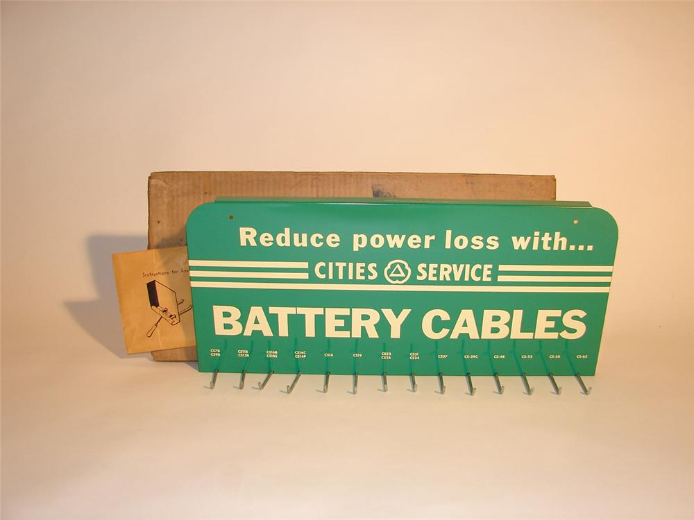 N.O.S. 1950s Cities Service Station Battery Cables display rack still in the original box. - Front 3/4 - 64747