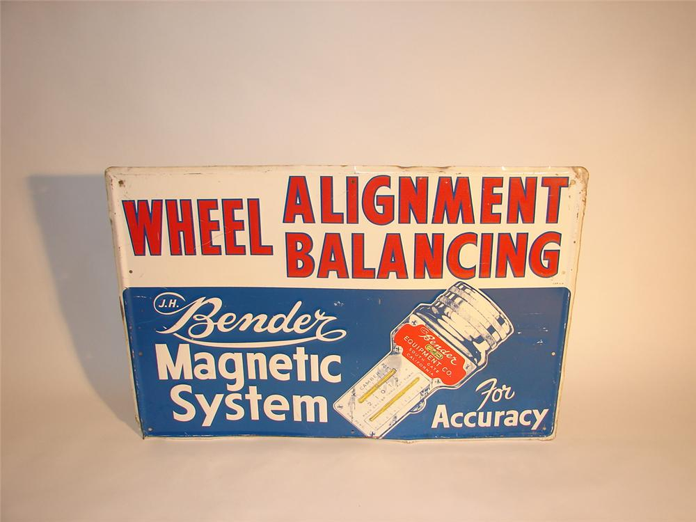 1940s Bender Wheel Alignment and Balancing embossed tin garage sign. - Front 3/4 - 64751