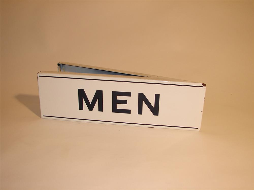 "1950s Standard Oil ""Mens Restroom"" porcelain station sign. - Front 3/4 - 64756"