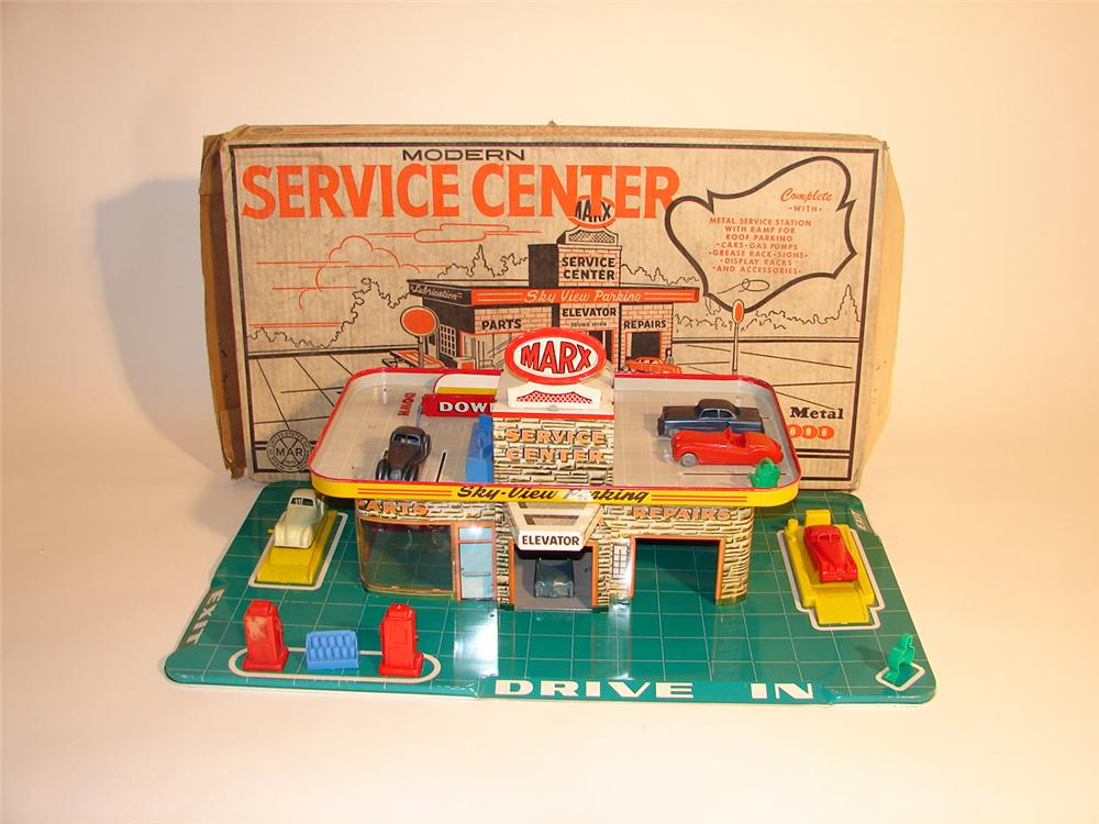 Unbelievable N.O.S. 1956 Marx Service Station still in the original box. - Front 3/4 - 64759