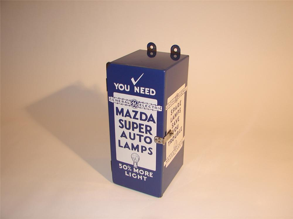 Neat 1930s GE Mazda Super Auto Lamps garage porcelain display cabinet. - Front 3/4 - 64762