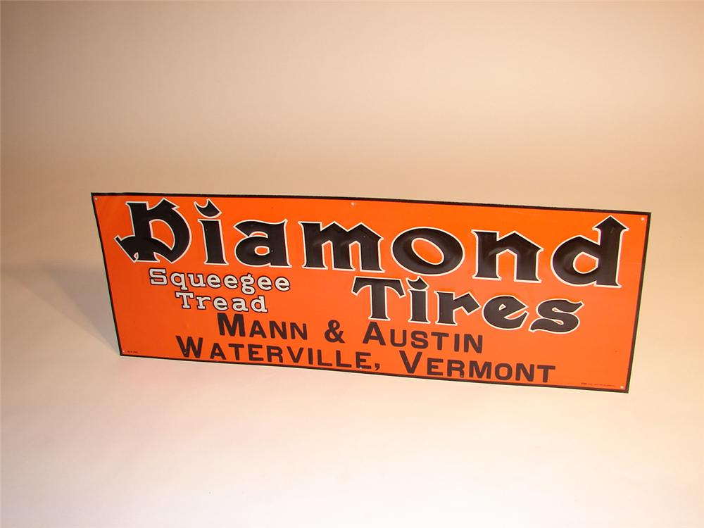 N.O.S. 1930s Diamond Tires single-sided tin embossed garage sign. - Front 3/4 - 64765