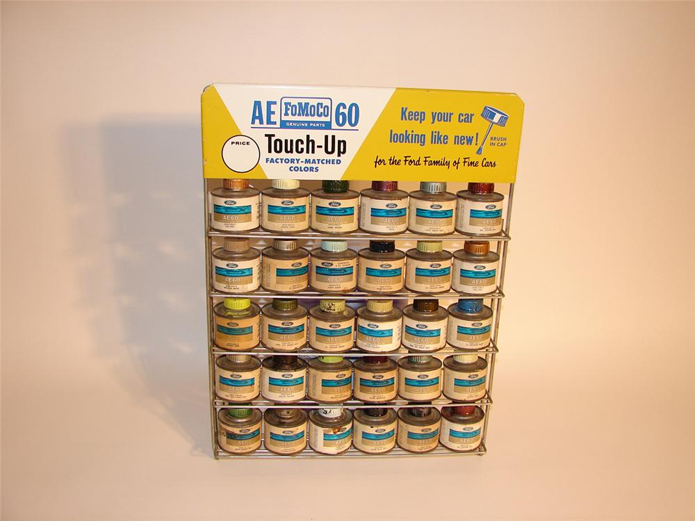 Early 1960s Ford FoMoCo Parts department counter-top touch-up paint display rack filled with original tins. - Front 3/4 - 64766