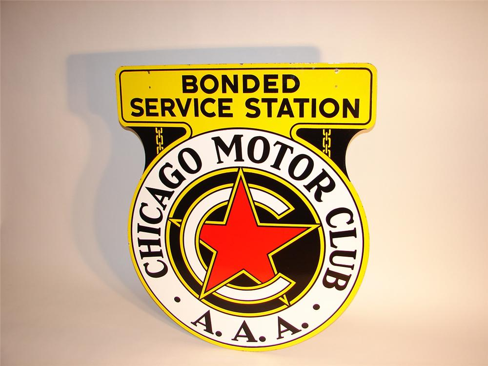 Sharp 1940s Chicago Motor Club double-sided porcelain station sign. - Front 3/4 - 64767