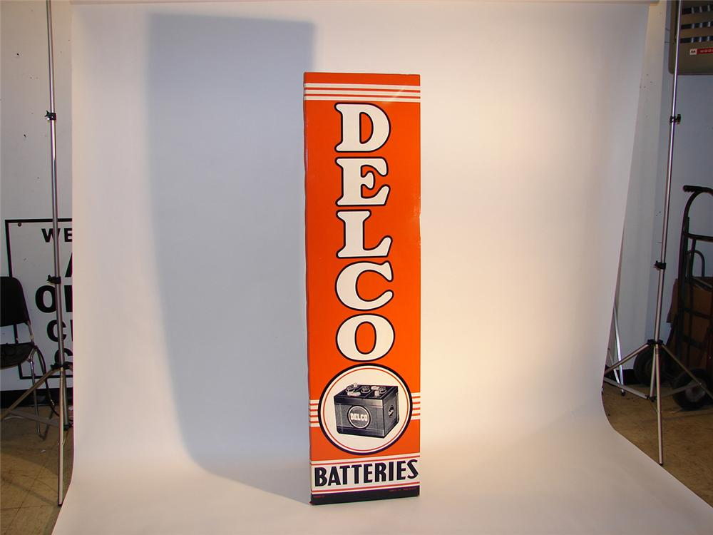 N.O.S. 1957 Delco Batteries self-framed garage sign.  Near Mint! - Front 3/4 - 64768