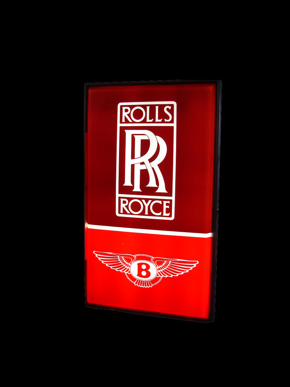 Impossible to find Rolls Royce-Bentley Automobiles double-sided light-up dealership sign. - Front 3/4 - 64776