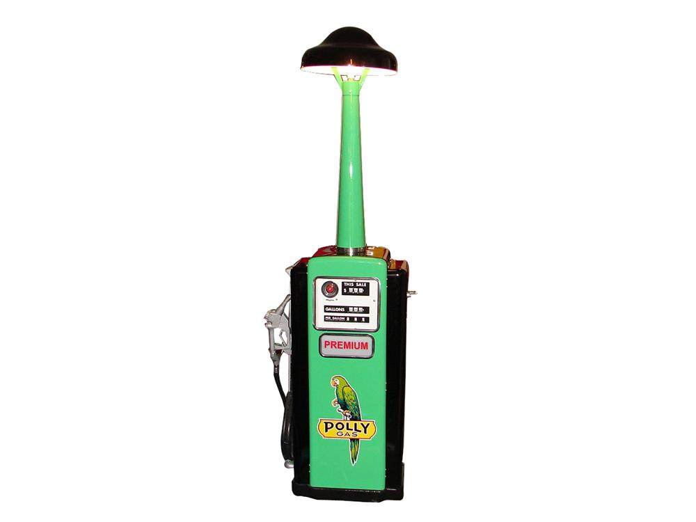 Magnificent Polly Gasoline wayne model #100 service station pump with island lighting unit atop. - Front 3/4 - 64779