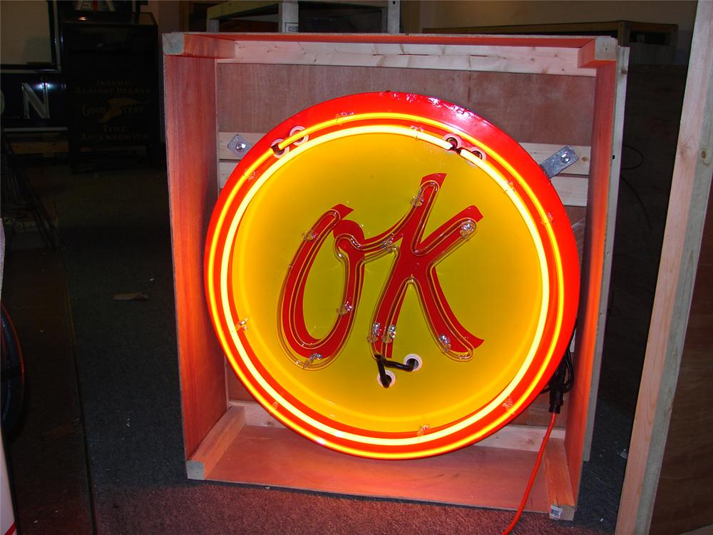 "Uncommon late 50s-eary 60s Chevrolet ""OK"" Used Cars single-sided neon porcelain dealership sign. - Front 3/4 - 64782"