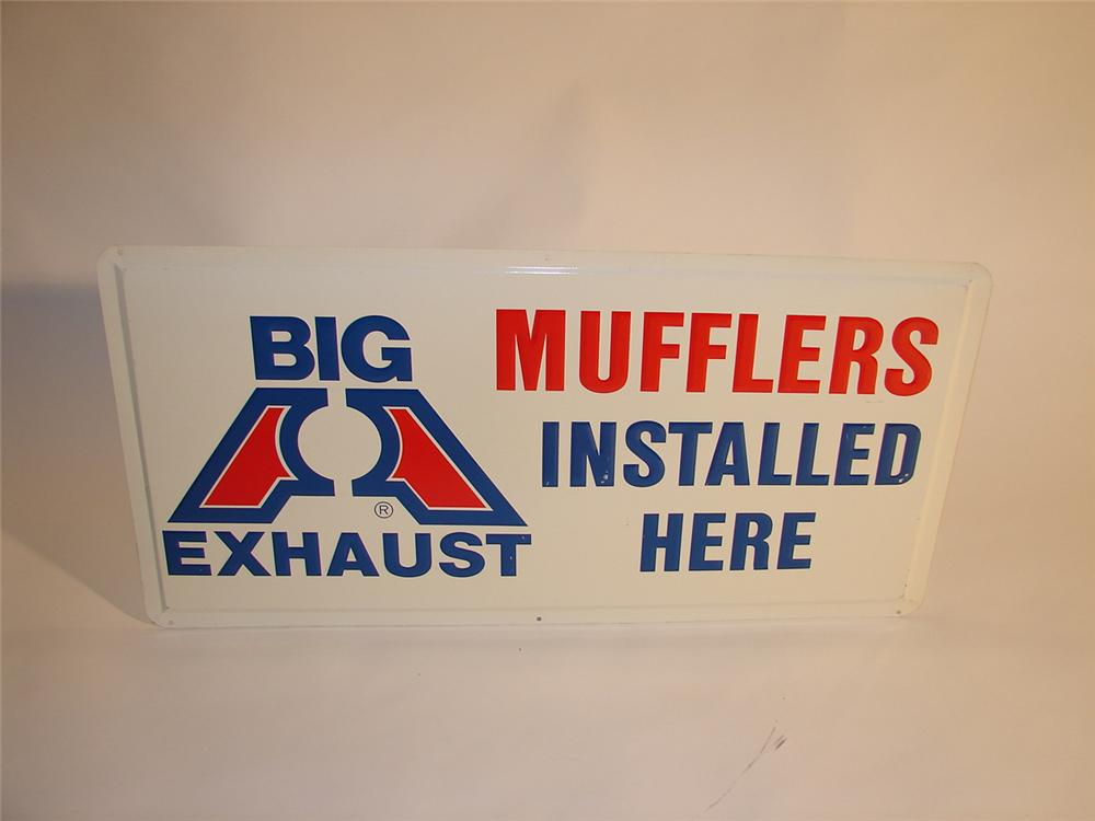 """N.O.S. late 60s Big Exhause Muffler """"Installed Here"""" single-sided tin sign. - Front 3/4 - 64785"""