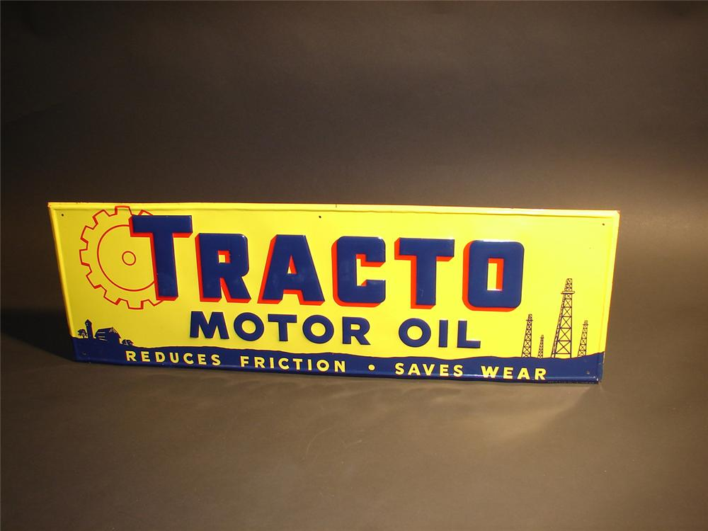 N.O.S. 1950s Tracto Motor Oil single-sided tin garage sign. - Front 3/4 - 64788