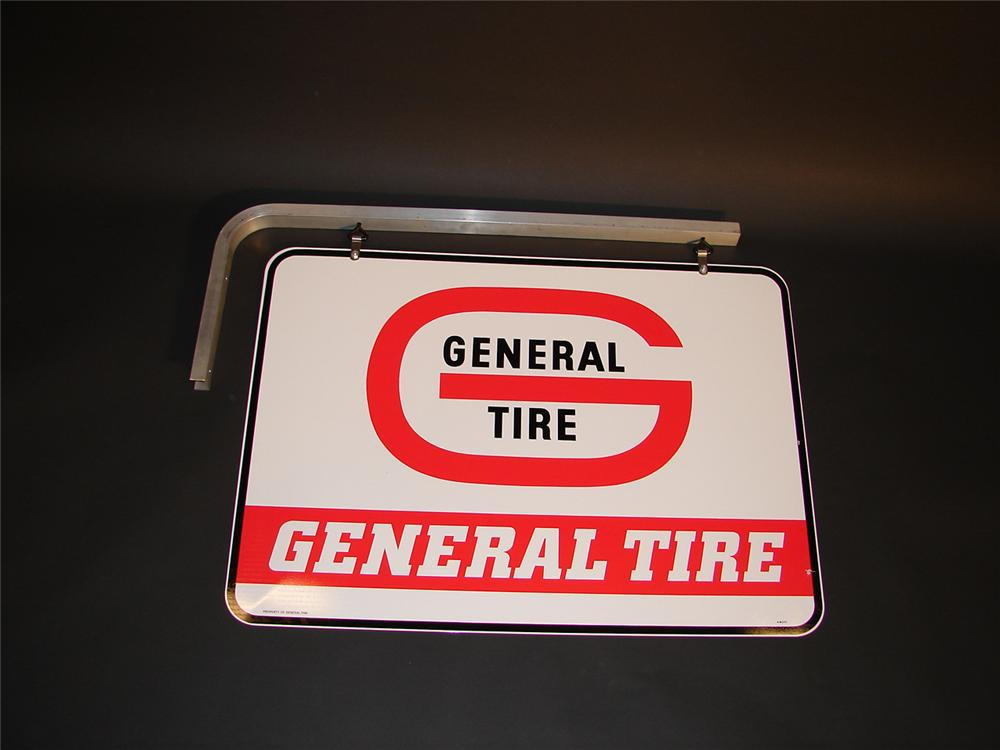 N.O.S. General Tires double-sided tin garage sign with original hanging bracket. - Front 3/4 - 64789