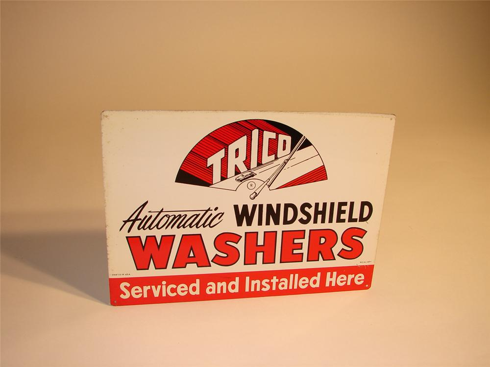 N.O.S. 1950s Trico Windshield Washers single-sided tin garage sign. - Front 3/4 - 64790