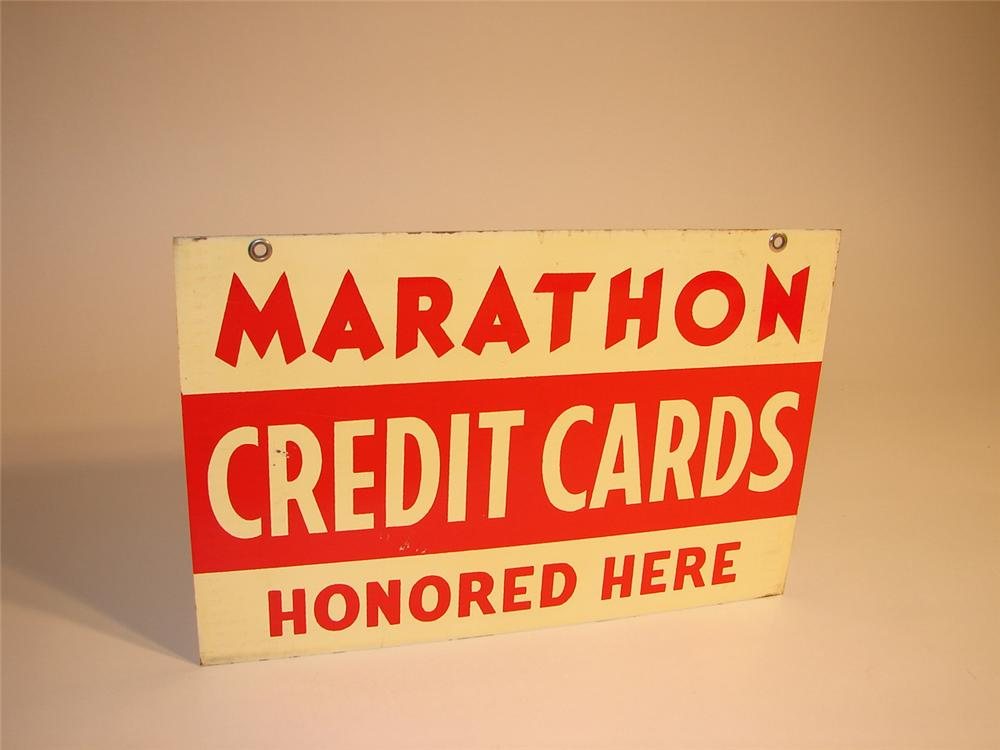 N.O.S. 1940s Marathon Credit Cards Honored Here double-sided tin station sign. - Front 3/4 - 64791