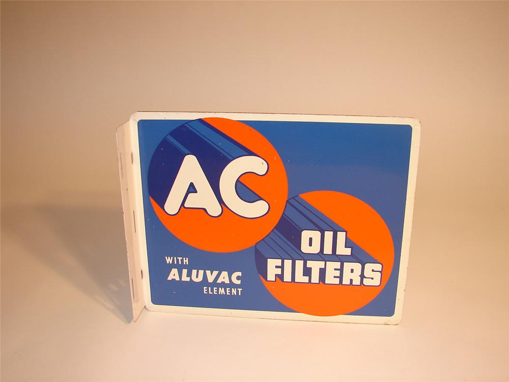 1940s AC Oil Filters tin garage sign. - Front 3/4 - 64793