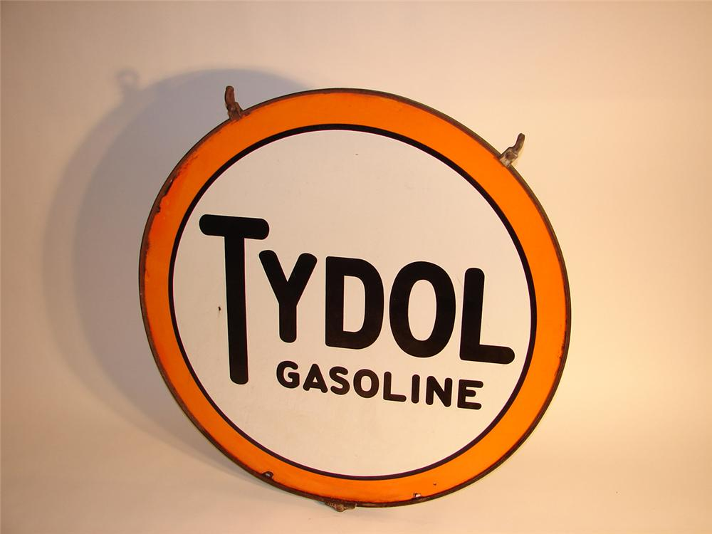 Scarce 1920s Tydol Gasoline double-sided porcelain station sign in original hanging bracket. - Front 3/4 - 64801