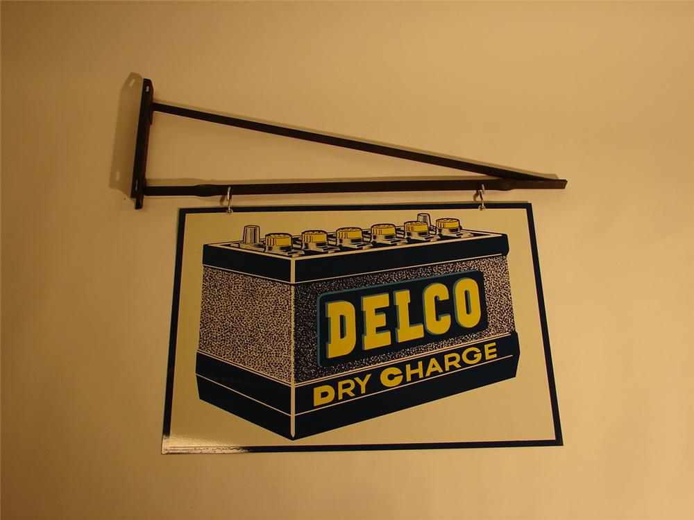 N.O.S. 1950s Delco Batteries double-sided tin garage sign with original hanging bracket. - Front 3/4 - 64802
