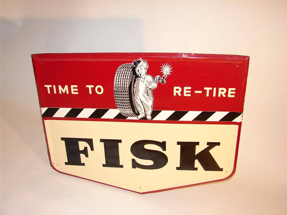"Wonderful 1949 Fisk Tires ""Time to Re-Tire"" self-framed tin garage sign. - Front 3/4 - 64805"