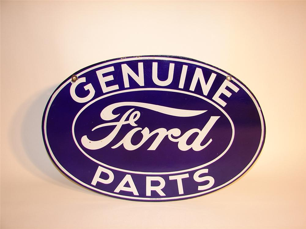 Fabulous 1930s Ford Genuine Parts double-sided porcelain dealership sign. - Front 3/4 - 64806