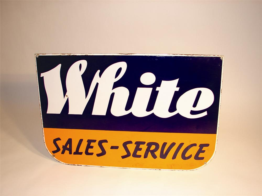 Late 50s-early 60s White Trucks Sales and Service single-sided porcelain dealership sign. - Front 3/4 - 64807